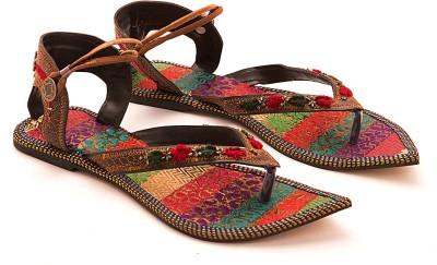 Myra Pair Of Multicolored Women Brown Flats