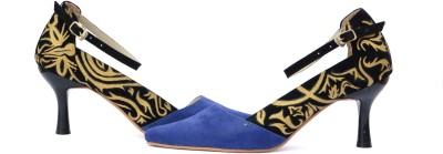 Wearmates Gold Pattern Women Blue Heels