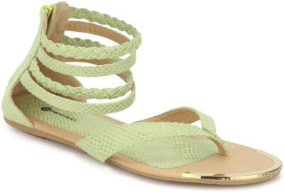 American Swan Women Green Flats