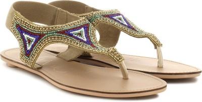 Catwalk Women Gold, Green Flats