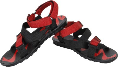 Vivaan Footwear Pu Men Black, Red Sandals