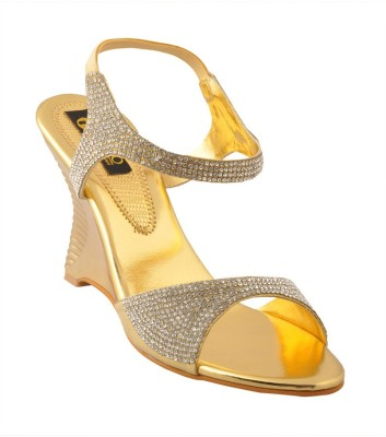 Senso Vegetarian Shoes Women Gold Wedges