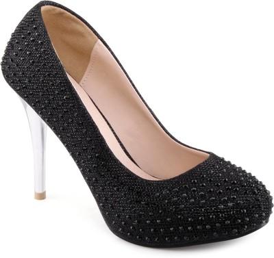 Shuz Touch Women Black Heels at flipkart