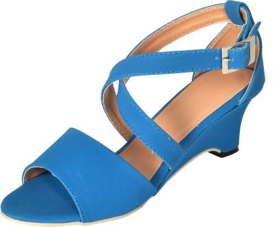 Stepee Women Blue Wedges