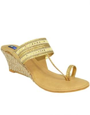 BLUE PARROT Girls Gold Flats