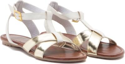 ALETA Women Gold, White Flats