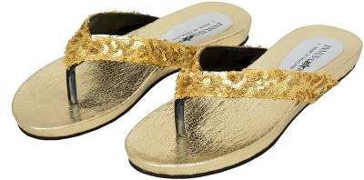 Shopaholic Fashion Women Gold Flats