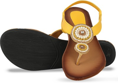 DJH Women Yellow Flats
