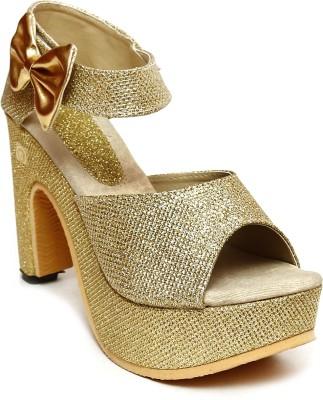 Royal Footwear Women Gold Heels