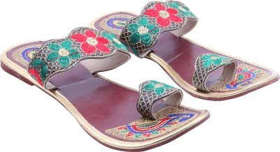 Royal Collection Women Maroon, Green, Red Flats