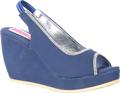 Butterfly Women Blue Wedges