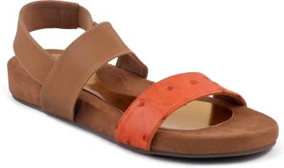 Zaera Women Orange, Tan Flats