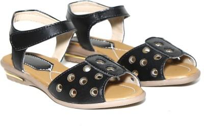 Craze Shop Girls Black, Gold Sandals