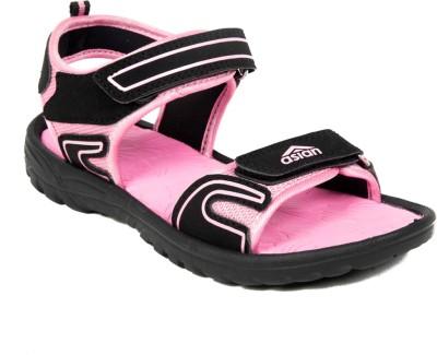 Asian Women Black, Pink Sports Sandals