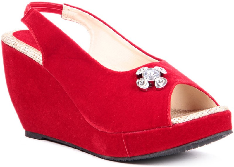 Sindhi Footwear Casual Women Red Wedges
