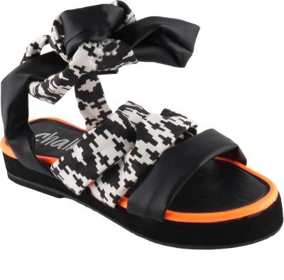 Chalk Studio Women Black, White, Orange Heels