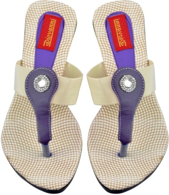 Diovanni Women White, Purple Flats