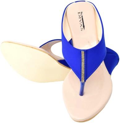 New Divas Women Blue Wedges