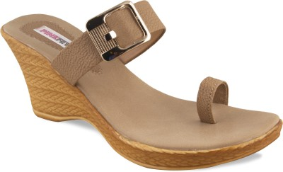 Pink Fever Women Brown Wedges