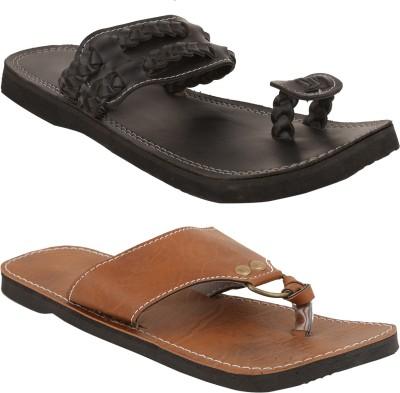 Ridhi Sidhi Men, Boys Black, Brown Sandals