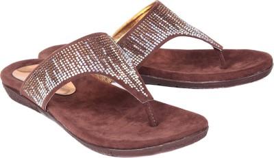 Ruby Swarovski Women Brown Flats