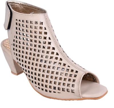 Leather Wood Women Beige Heels