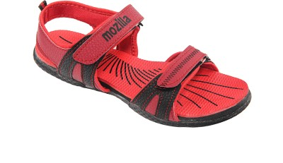 Select Women Black, Red Sports Sandals