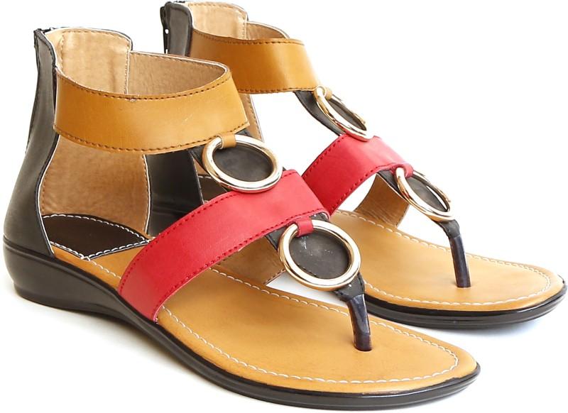 Craze Shop Women Red Beige Flats