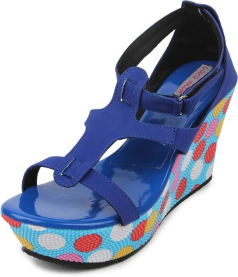Cara Mia Women Blue Wedges