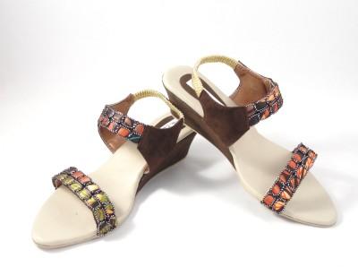 Ethnoware Women Brown Wedges