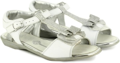 Clarks Orra Noon White Leather Girls Silver, White Flats