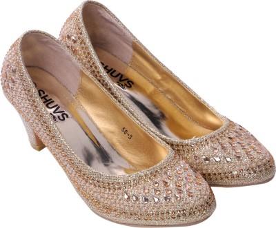 Shuvs Women Gold Heels