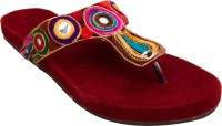 Footrendz Women Maroon::Dark blue; pink; brown; orange; yellow Flats