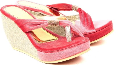 Monaliza Women Pink, Gold Wedges
