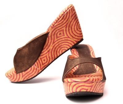 Oh Feet ! Women Brown Wedges