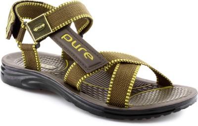 Welcome Pure Pgs1202 Mehandi Yellow Men Khaki, Yellow Sandals