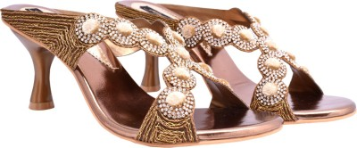 Femine Women Gold Heels