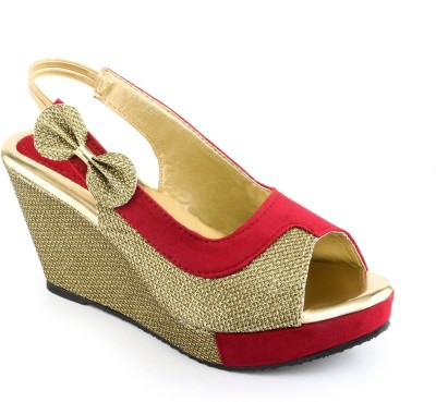 Shoe Lab Women Gold, Red Wedges