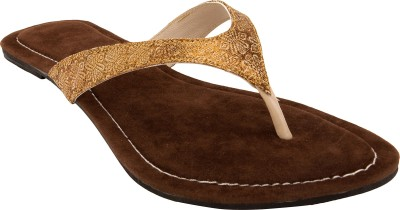 Royal Collection Women Gold, Brown Flats