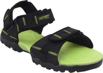 Steel Men Black, Green Sandals