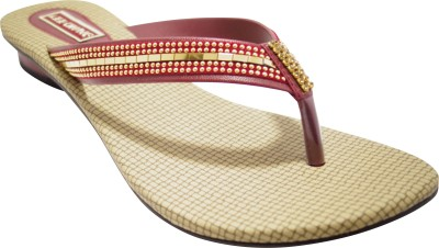Lee Chung Women Maroon, Gold Flats