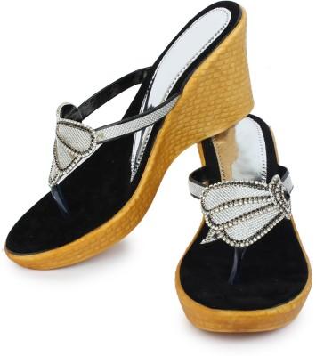 London Steps Women Black Wedges