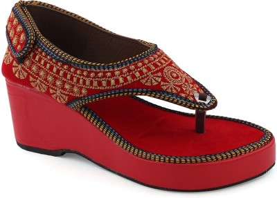 Paduki Women Red, Gold Wedges