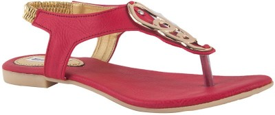 Pink Fever Women Red Flats