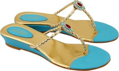 Charu- Diva Design Studio Women Blue, Gold Wedges