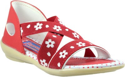 Supreme Leather Baby Girls Red Sandals