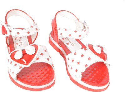 Junior Selection Girls White, Red Sandals