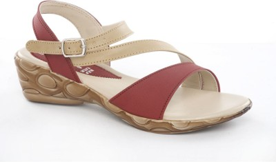 Dolphin Miles Stylish Women Beige, Maroon Wedges