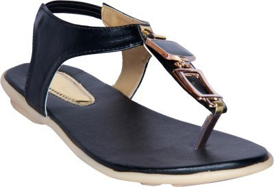 Steady Walk Girls Black Flats
