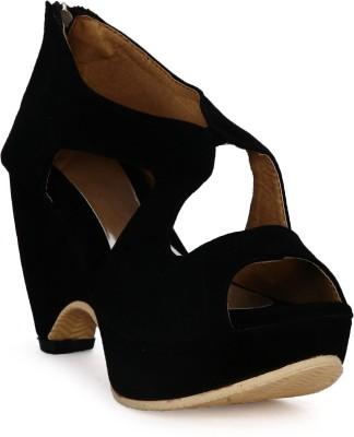 Tic Tac Toe Women Black, Black Wedges